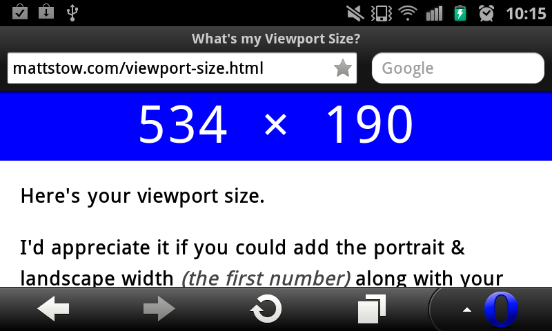 Android Viewport Width Comparisons